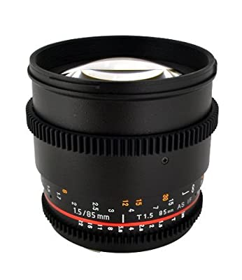 Rokinon 85mm t/1.5 Aspherical Lens for Canon with De-Clicked Aperture and Follow Focus Compatibility Fixed Lens by Rokinon