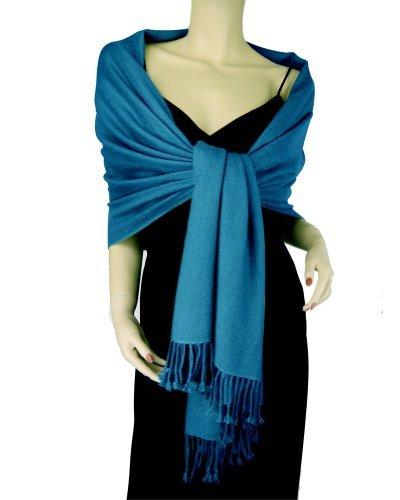Pure Cashmere Pashmina Shawl 3 Ply Moroccan Blue