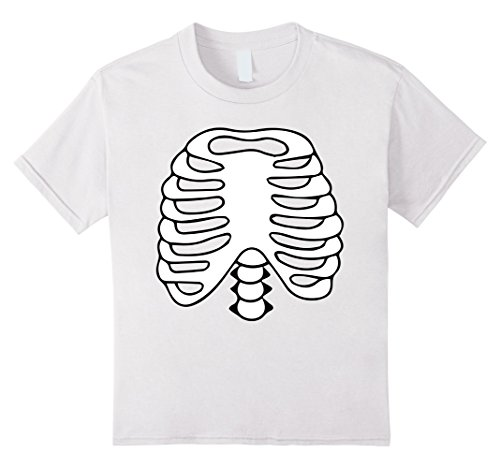 Kids HALLOWEEN SKELETON COSTUME SHIRT | Rib cage Anatomy T-Shirt 6 (All White Costume Contact Lenses)