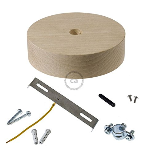Creative Cables Wooden Ceiling Canopy kit for XL Electrical Cord Complete with Accessories. Made in Italy.