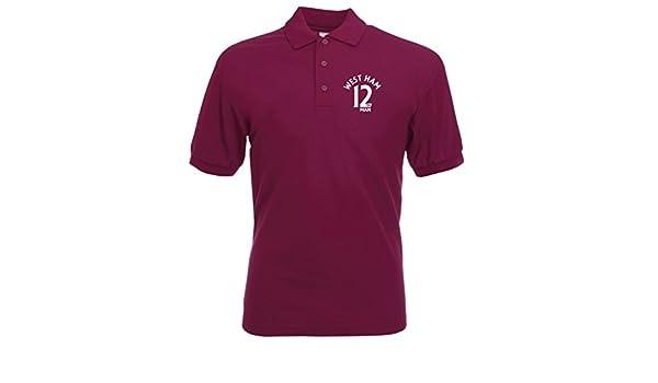 West Ham 12th Man Fan Polo para Hombre Claret Morado Burdeos ...