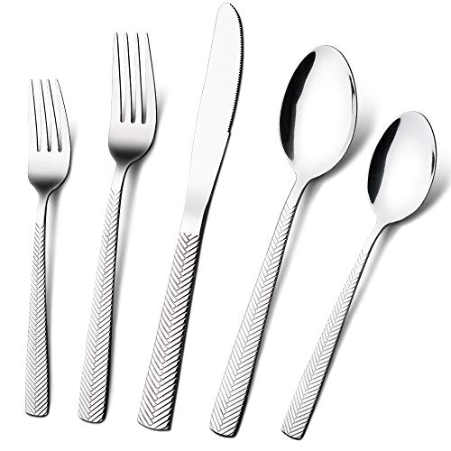 Silverware-Set-Stainless-Steel-Flatware, Weighted Kitchen Utensil Set 20 Piece Polishing Forks Knives and Spoons Service 4, Silver