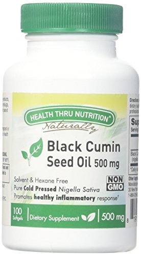 Health Thru Nutrition Black Cumin Seed Oil Non-GMO 500Mg Softgels First Cold Pressed, 100 (Cumin Seed Essential Oil)