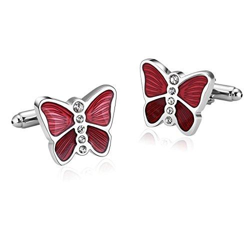 KnSam Stainless Steel Red Elegance Series Butterfly Glazing Zirconia Cufflinks for - Alabama Spy Shop