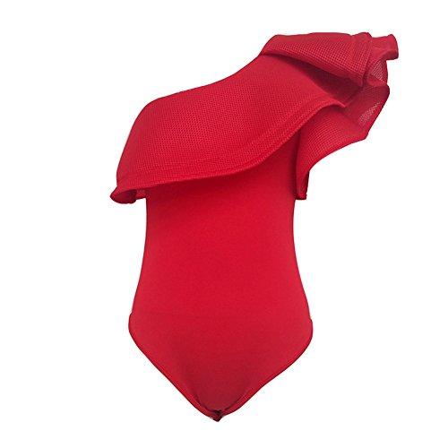 Juleya Womal Petal Stretch ata con capucha Body Leotard Rojo