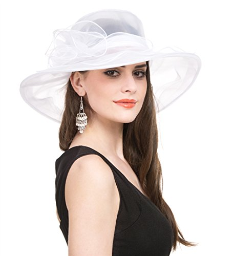 Lucky Leaf Women Kentucky Derby Church Party Floral Brim Summer Wedding Hat (White)