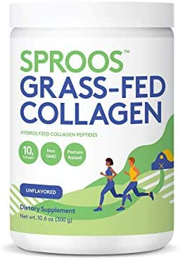 Premium Grass Fed Collagen Powder by SPROOS | Pasture-Raised, Grass-Finished, Non-GMO and Gluten-Free Hydrolyzed Collagen Peptides Powder | 9g of Protein per 10g Unflavored and Odorless, 10.6 Oz Tub