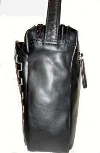 para Negro schwarz Handtaschen mujer Manufaktur mochila Josephine Osthoff geflochten one size Bolso 7UxBX