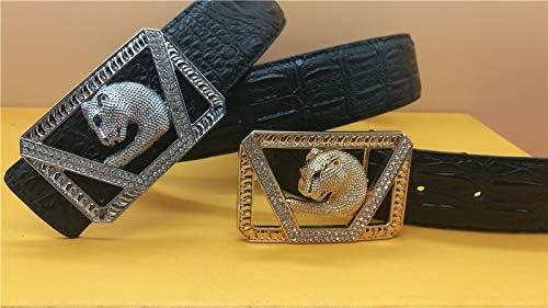 Mink Monk Leopard Head Diamonds Casual Smooth Buckle Designer Leather Mens and Womens Belt Luxury Mens Belt