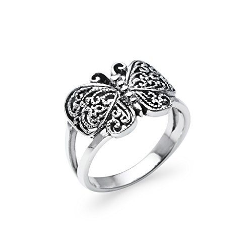 Sterling Silver Butterfly Filigree Ring - Antiqued Comfort Fit Wrap Friendship Band Size 9 (Antiqued Filigree Butterfly Ring)