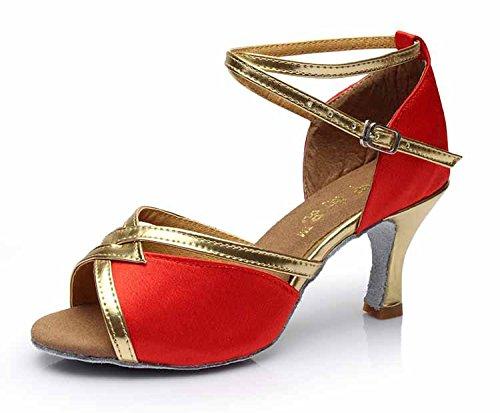 YFF Mädchen Ballroom tango Frauen salsa Latin Dance Schuhe 5 cm und 7 cm hohem Absatz,rot 5 CM,3,5