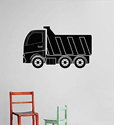 Design with Vinyl Cryst 493 1066 Black Tractor Dump Truck Demolish Demolition Construction Operation Equipment Kids Boys Tools Vinyl Wall Decal Art, 14 by 30-Inch, Black