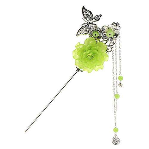 Vintage Flower Butterfly Tassel Hairpin Chignon Sticks Hanfu Ancient Jewelry (Color - Green) (Prana Cap Vintage)