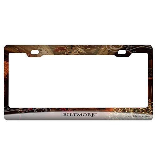(SportsFloraling Christmas at Biltmore License Plate Frame Black Humor Funny, Aluminum Metal Car Plate Frame with Screw Caps - 2 Holes Auto License Plate Cover Holder for US)
