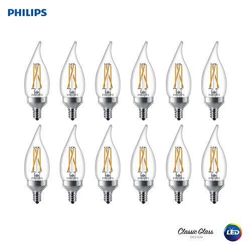 Philips 536664 LED Dimmable BA11 Clear X-Filament Glass Light Bulb with Warm Glow Effect: 300-Lumens, 2700-Kelvin, 4.5 (40-Watt Equivalent), Soft White, E12 Candelabra Base, 12 Pack, Piece