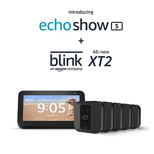 Echo Show 5 (Charcoal) with Blink XT2 Outdoor/Indoor Smart Security Camera - 5 camera kit