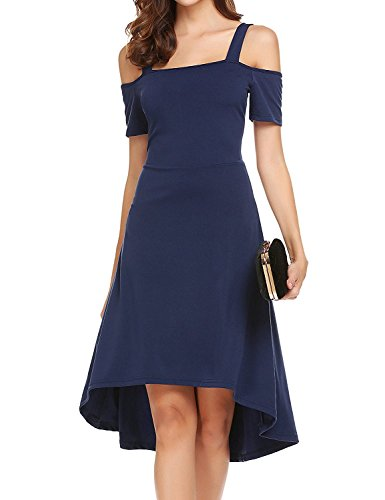 Uniboutique Womens Cold Shoulder A-Line Cocktail Party High Low Skater Dress Navy Blue (Envelope Hem Dress)