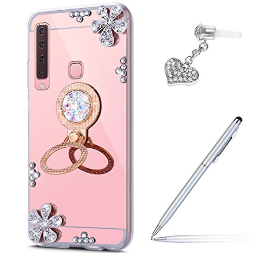 Case for Galaxy A9 2018 Diamond Case,Crystal Inlaid diamond Flowers Rhinestone Diamond Glitter Bling Mirror Back TPU Case & Ring Stand + Touch Pen Dust Plug for Galaxy A9 2018 Mirror Case,Rose Gold