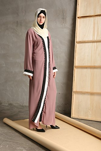 YI HENG MEI Women's Elegant Modest Muslim Islamic Full Length Lace Hem Abaya Dress with Belt,Pink Purple,XL by YI HENG MEI (Image #3)
