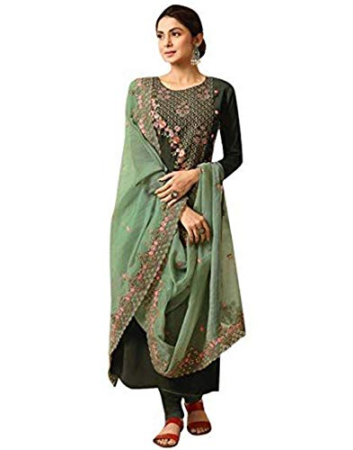 - DesiButik's Charming Jennifer Green Maslin Silk Salwar Kameez with Pure Organza Dupatta