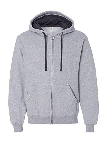 Fruit of the Loom Men's Full-Zip Hooded Sweatshirt, Athletic Heather, Medium
