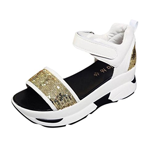 bescita Damen Sommer Sandalen Schuhe Peep-Toe Hohe Schuhe Römer Sandalen Damen Flip Flops mit Pailletten (38, Gold)