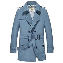 E-artist Men's Trench Coat Long Double Breasted Overcoat F07