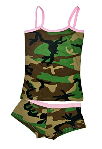 Nyteez Women's Camouflage Booty Short and Tank Top Set (Woodland Camo Booty)