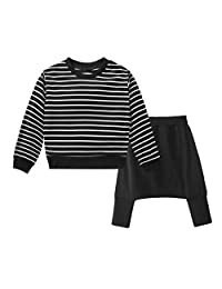 ASTV Toddler Baby Boys Clothes Stripe Printing T-shirt Tops Pant Set Leggings Outfits