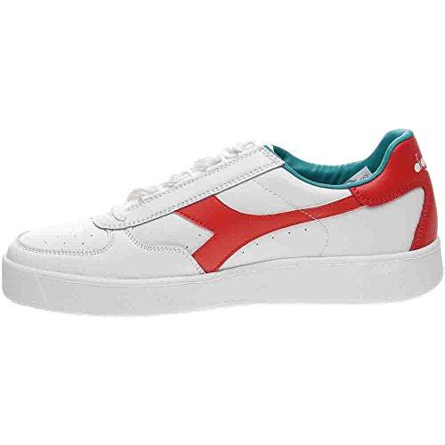 Diadora B. Elite, Pompes à Plateforme Plate Mixte Adulte blanc/rouge
