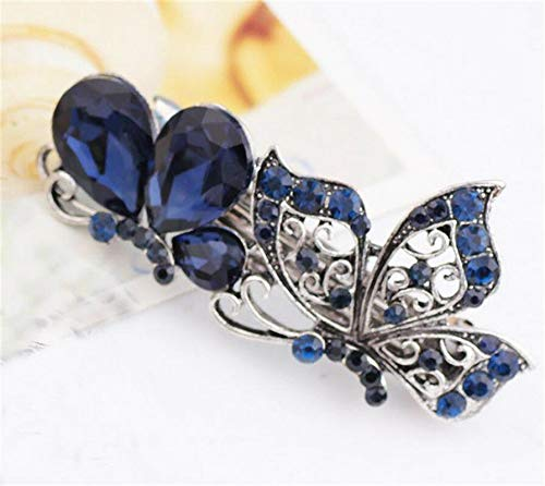 MOPOLIS Women Girls Vintage Crystal Rhinestone Flower Barrette Hair Clip Clamp Hairpin | Color - #17 Butterfly