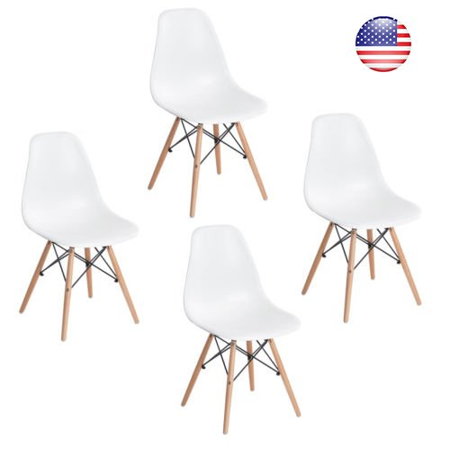 [Set of 4 White Dining Chairs,ELERANBE Mid Century Eames DSW Style Moulded Adult Side Kitchen Chair with Natural Eiffel Beech Wood Leg] (Dinining Set)
