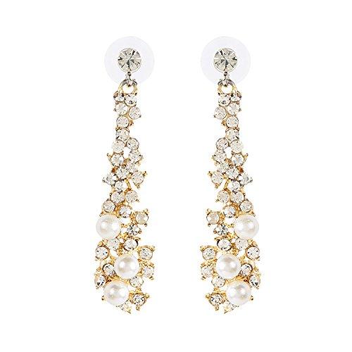 Metme Women's Vintage Style Crystal Simulated Pearl Chandelier Dangle Earrings Pendant Bridal Wedding