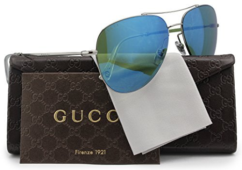 GUCCI GG2245/S Aviator Sunglasses Shiny Gunmetal w/Green Blue Mirror (06LB) 2245/S 6LB HZ - Gucci Sunglasses Leather