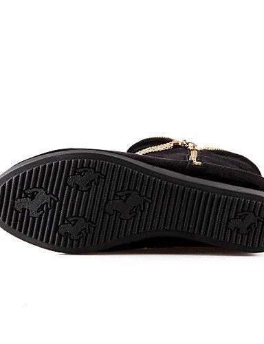 Black Cuña Cn39 Casual Black Cn36 De Botas Punta Vestido Cuñas Xzz Eu36 Redonda La Uk6 Uk4 Negro Mujer Eu39 us6 us8 Moda Vellón A Zapatos Tacón xICRaA