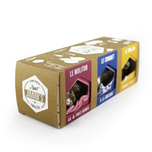 Insectos comestibles JIMINIS - 3 cajas para el aperitivo saltamonte, grillo, molitor