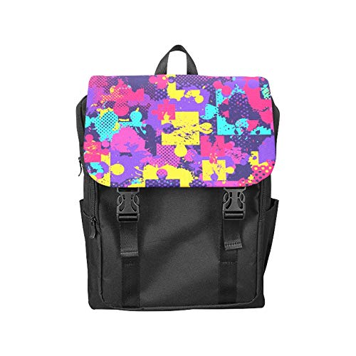 Flap Backpack Spray Paint Graffiti Art Block Hand Painted Printing Flip Cover Laptop Backpack Storage Bookbags College Backpack for Teens Teens Student -