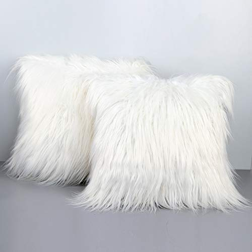 PartyTalk 2pcs White Fur Throw Pillow Case Cushion Cover for Sofa Bedroom Car, 18 x 18 inch Christmas Pillow Covers Decorative New Luxury Series Merino Style (Shag Pillow White)