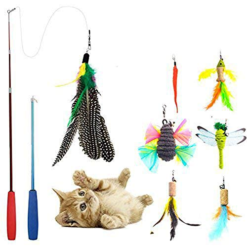 Cat Toys Interactive,9 Packs Retractable Cat Toy Wand, Cat Feather Toy, Assorted Refills Teaser Exerciser Wand Toy Set,Fish Bird Butterfly Dragonfly Worm ()