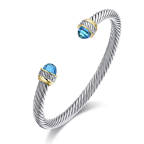 Ofashion Twisted Cable Bracelet with Crystal Ends, Brass Alloy, 5mm