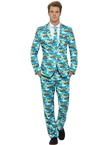Smiffy's Men's Aloha Suit, Green, with Jacket, Trousers and Tie, M - US Size 38