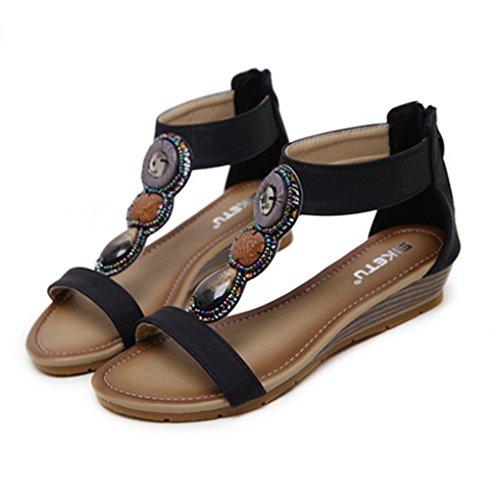 - Zarbrina Women's Ankle Strap Wedge Sandals Platform Elastic Band Open Toe Back Zip Gladiator Girls Shoes Black