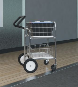 Charnstrom Compact Easy Push Handle Wire Basket Cart with Cushion Grip (M241E)