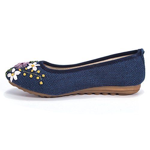 Women's Flats Shoes Flower Embroidery Round Toe Casual Slip On by FUT (Image #3)
