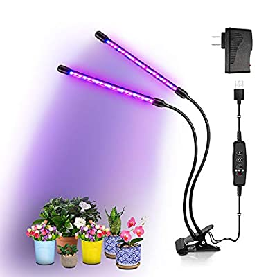 BRIONAC LED Grow Light, 20W 40 LEDs, 9 Dimmable Levels, 3/9/12H Timer Grow Lamp for Indoor Plants Growing