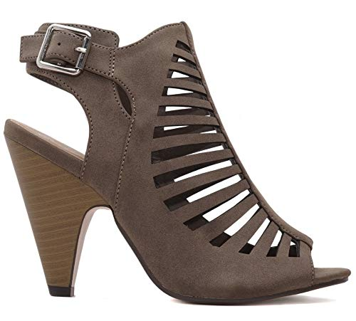 Charles Albert Women's Gladiator Strappy Shaky Cone Heel (6 B(M) US, Taupe) Charles High Heel Pumps