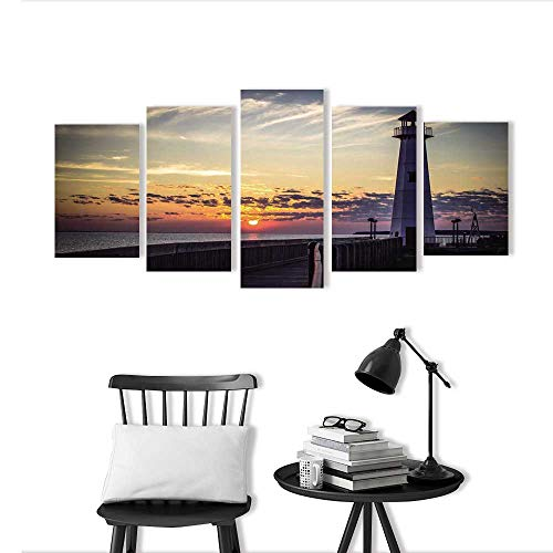 5 Pieces Triptych Painting Living Room Decoration Frameless Michigan Sunrise for Living Room Office Decor Gift