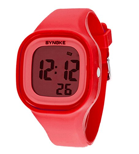 Boys Girls Multi-Function Summer Jelly Digital LED Display Watch Outdoor Waterproof Sports Watches Red by YJLHCYGG