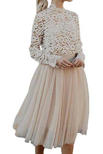 Et Femme Fashion Elgante Multicouche Fil Net Midi Jupe Casual Couleur Unie Bouffe Jupes de Party Cocktail Soire Gala Champagne