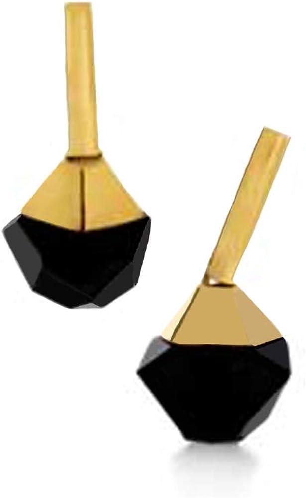 Pendientes de Acero dorado Tutsi a presión SGEA78970100 con Onix facetado